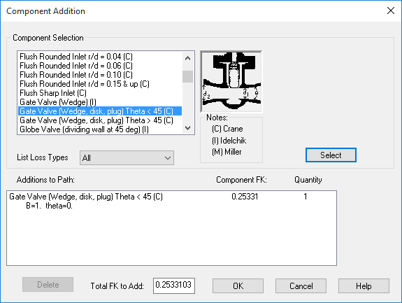 Built-in K-factor calculator for fluid modeling of valves and losses