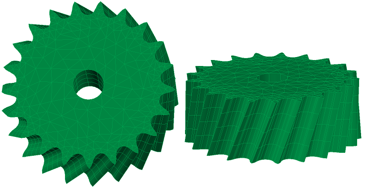 Gear with slanted swept mesh and curved elements
