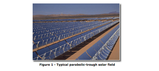 Parabolic trough solar field
