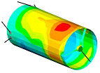 Structural model of telescope shell with mapped temperatures